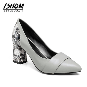ISNOM Thick High Heels Women Pumps Cow Leather Shoes Printing Pointed Toe Shallow Footwear 2018 Autumn Office Fashion Lady Shoes