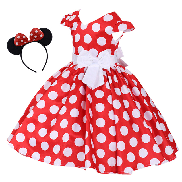 2pcs Minnie Mouse Dress Up Fancy Cosplay Party Polka Dots Dress Headband For Kids Birthday Party Cake Smash Outfit Girls Dress 1