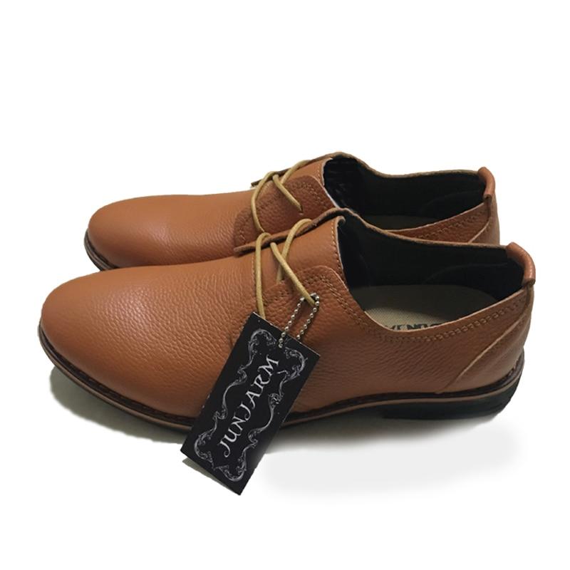 JUNJARM 2017 New Arrival Mens Formal Shoes Genuine Leather Dress Shoes Brand Men Oxford Shoes Breathable Cow Leather Men Flat