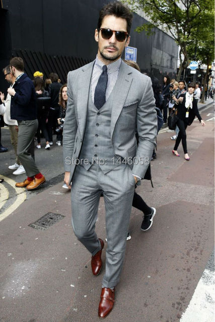 New Design Custom Made Grey Groomsman Wedding Suits For Men Groom Tuxedos Mens Suit Business 3