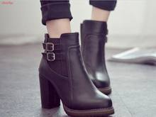 Autumn Buckle classic large size Women Boot Autumn spring Short shoes Women High Heel Shoes women Boots Women Ankle Boots Black(China)