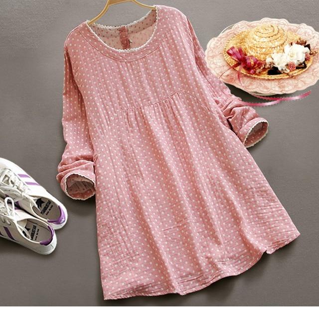affordable printemps automne polka dot plaid pluse taille femmes coton lin  patchwork robe femme tunique boho rockabilly with tunique lin femme e7c413519f18