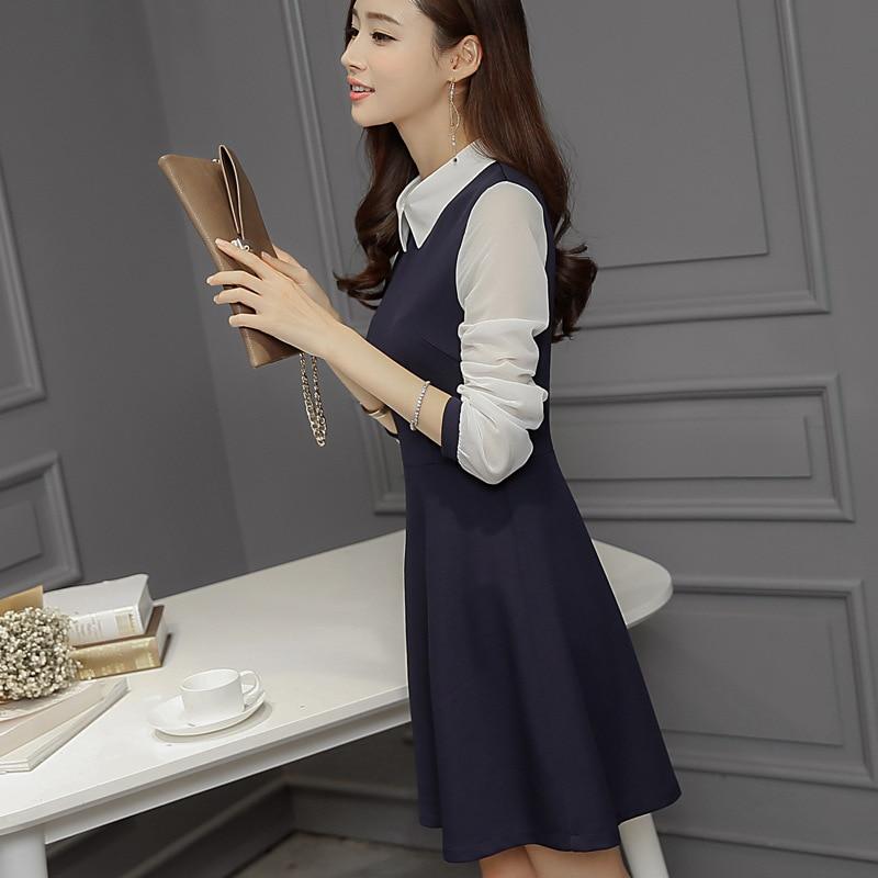 2018 Office Lady Korean OL Summer Slim Splicing Chiffon Long Sleeve Perter Pan Collar Dress