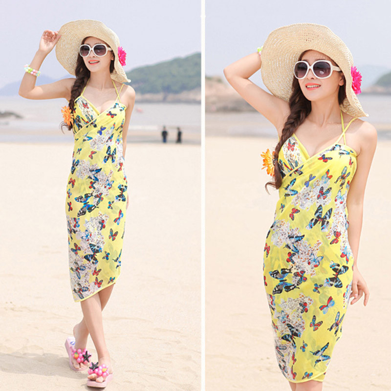 Women Beach Dress Swimwear Sexy Sling Beach Wear Dress Sarong Bikini Cover-ups Wrap Pareo Skirts Towel Flower Open-Back Swimsuit 10