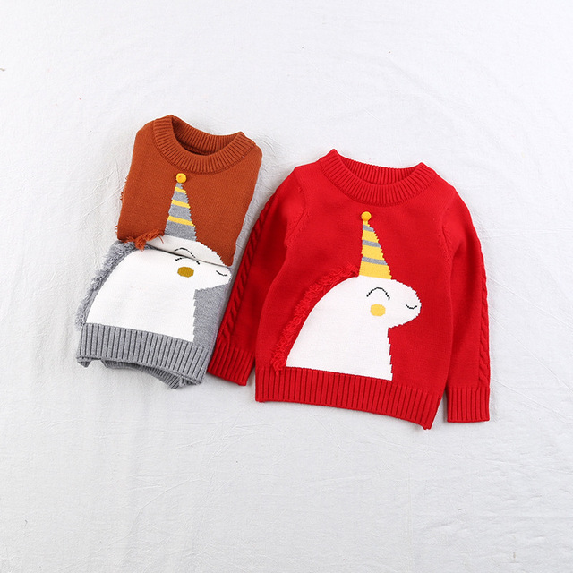 0f368feca448 Children Christmas Sweater Long Sleeve O Neck Cotton Character ...