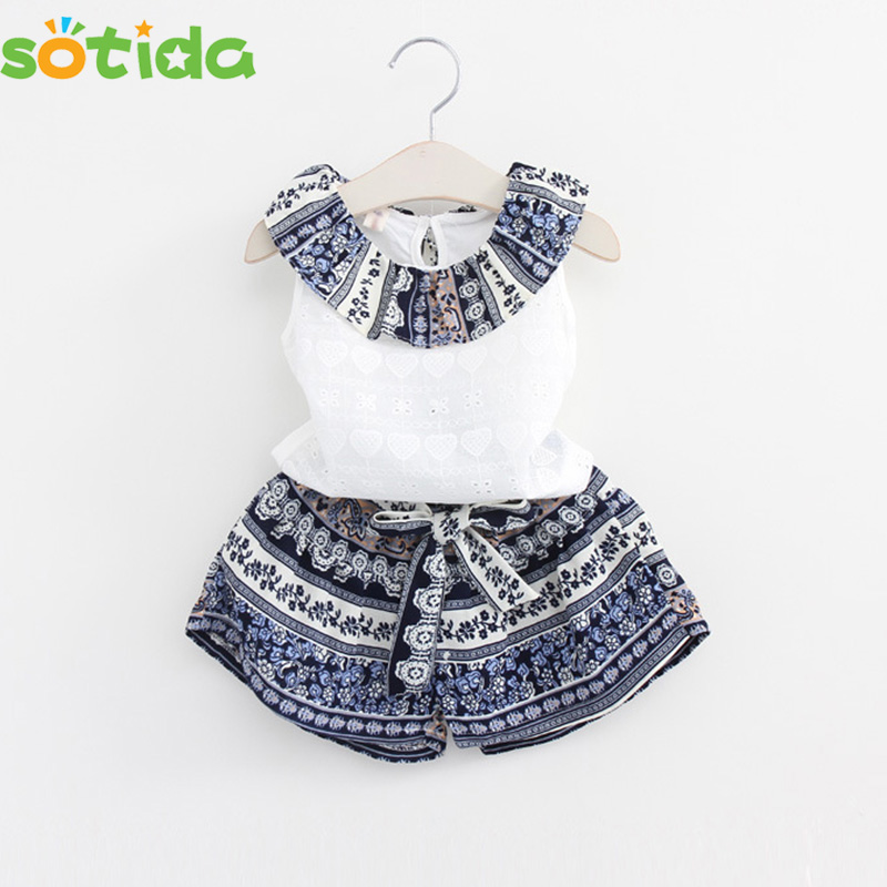 Hot2016 Summer Girls Clothing Sets Cotton Vest Two-piece Sleeveless Children Sets Casual Fashion Girls Clothes Suit Skirt2~14age