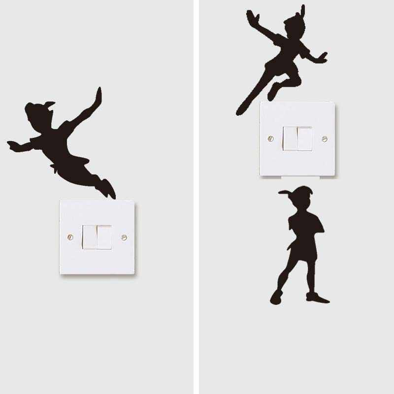 Diverse Peter Pan Muurtattoo Nursery Vinyl schakelaar Stickers voor Kinderkamer Cartoon Art Sticker Jongens Meisjes Kamer Waterpaper