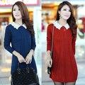 2016 Novo Vestido de Camisola para As Mulheres Tricotado Casuais Plus Size Senhora Inverno Camisola Pullovers Malhas S ~ 3XL Rosa, vermelho, Preto, Azul
