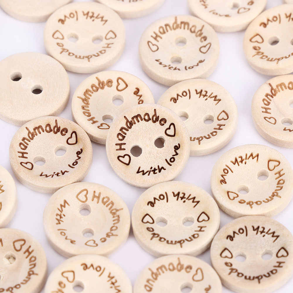 100pcs/pack Hand Made with Love Sewing Wood Button 15mm Round Decorative Craft Buttons High quality