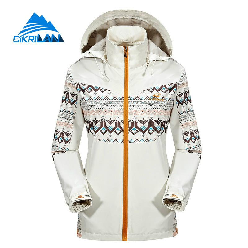 Hot Sale Spring Geometry Print Waterproof Hiking Outdoor Jacket Women Windstopper Chaquetas Mujer Climbing Casacos Fishing Coat цены онлайн