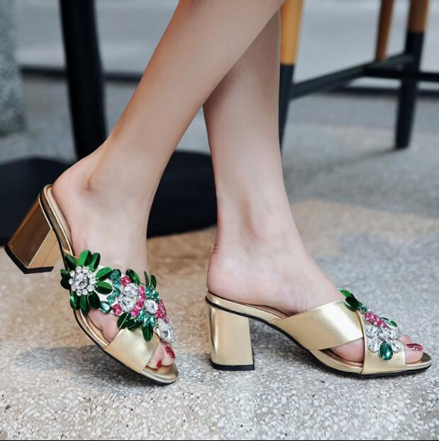Top quality women shoes 2017 Summer holiday fashion high thick heel slippers gold silver pink shoes with rhinestone flower slide