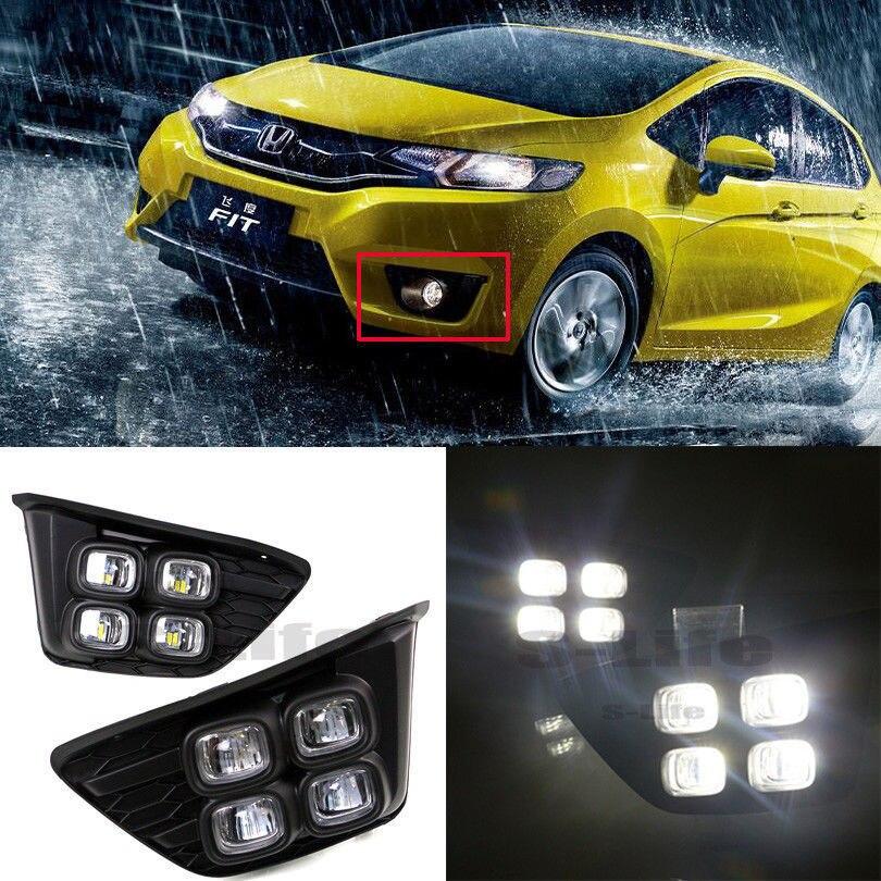 FOR Honda Jazz 2014-2016 White Lamp LED Daytime Running Light DRL Fog Driving Bulbs