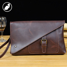 ETONWEAG New 2016 men famous brands cow leather vintage day clutch bags phone bags brown fashion daily organizer wallets
