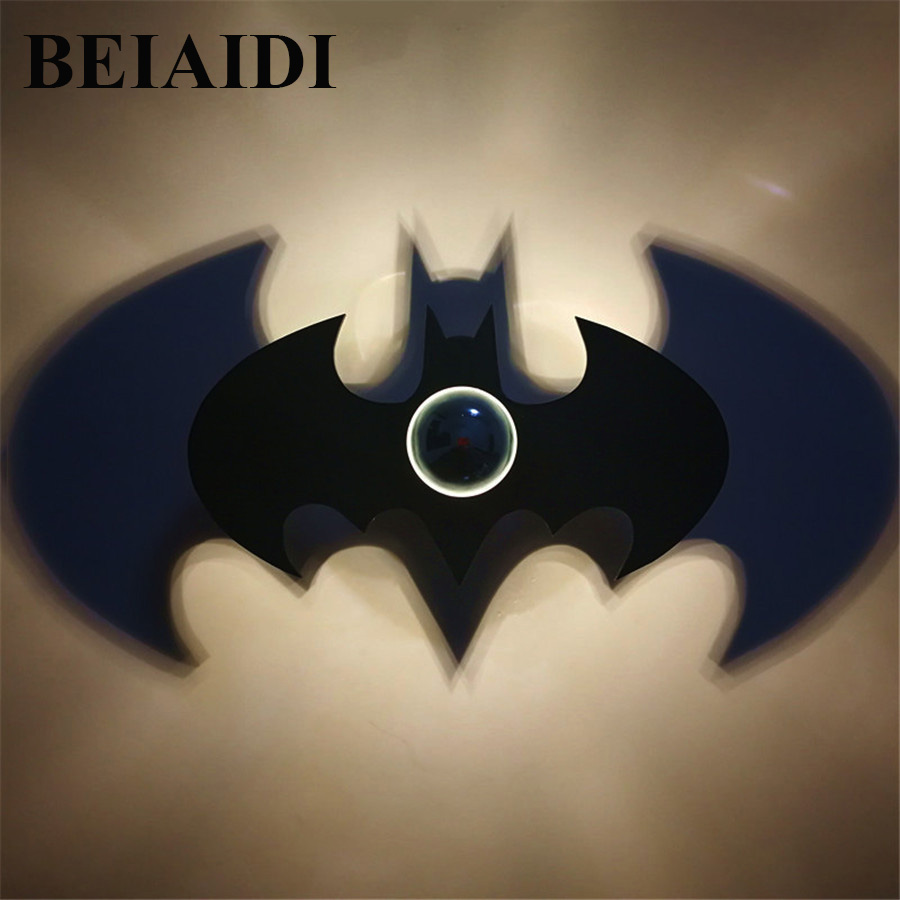 BEIAIDI E14 Batman Creative LED Wall Lamp Creative Shadow LED Night Light Nordic Acrylic Night Lamp Wall Art Home Decor Ornament 5 stagioni полента кукурузная истантанеа 1 кг
