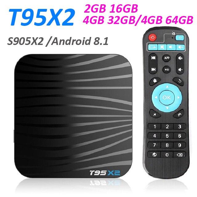 10pcs T95X2 Smart TV BOX Android 8 1 4GB 64GB Amlogic S905X2 Quad Core H 265