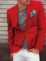 Red Jacket White Pant Latest Coat Pant Design Bespoke Fashion Men Suits Cool Handsome Blazer Tuxedos