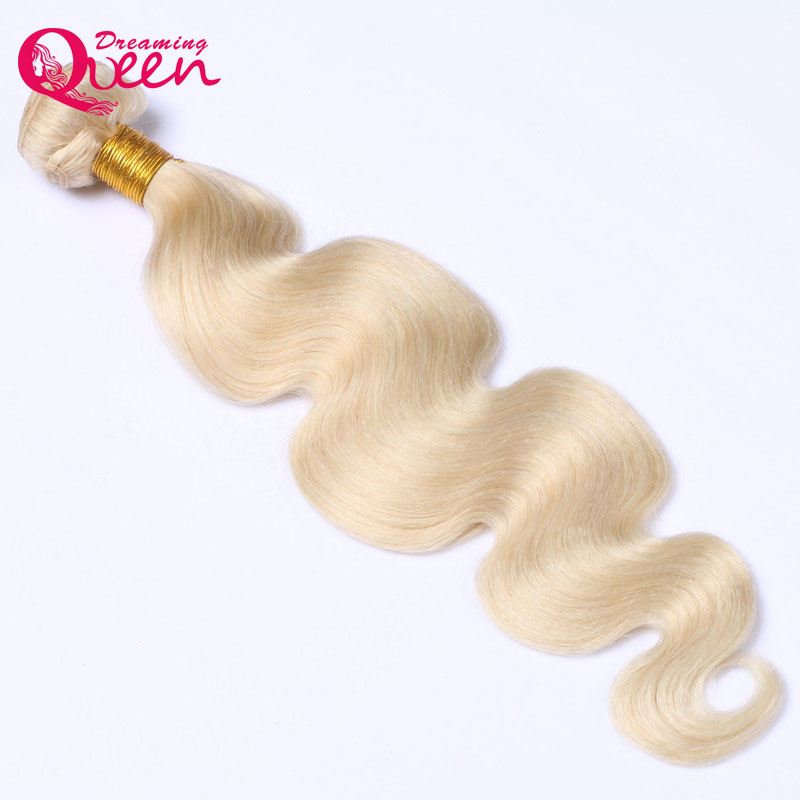 10-28 inch #613 Blonde Brazilian Body Wave Hair Extension 1 Bundle Human Hair Weave 100% ...