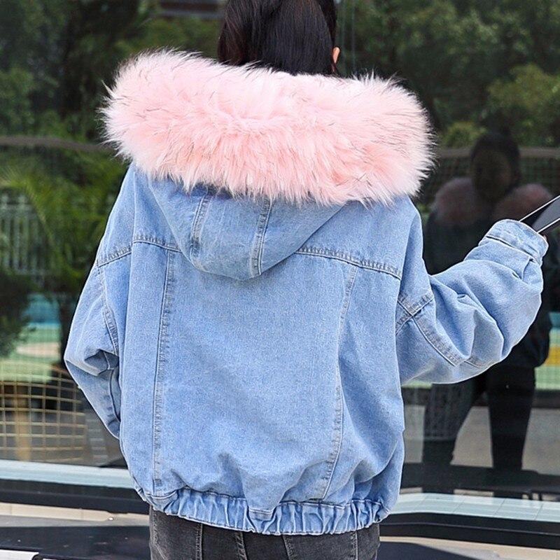 Hiver Invierno De Pw70 À Fourrure Chaud Mujer Agneaux Denim Manteaux Manteau Jeans Femmes Col Doublure Grey Parkas Veste white Chaqueta pink Hairy Nouveau Capuche Épaissir rwnRHrq5x