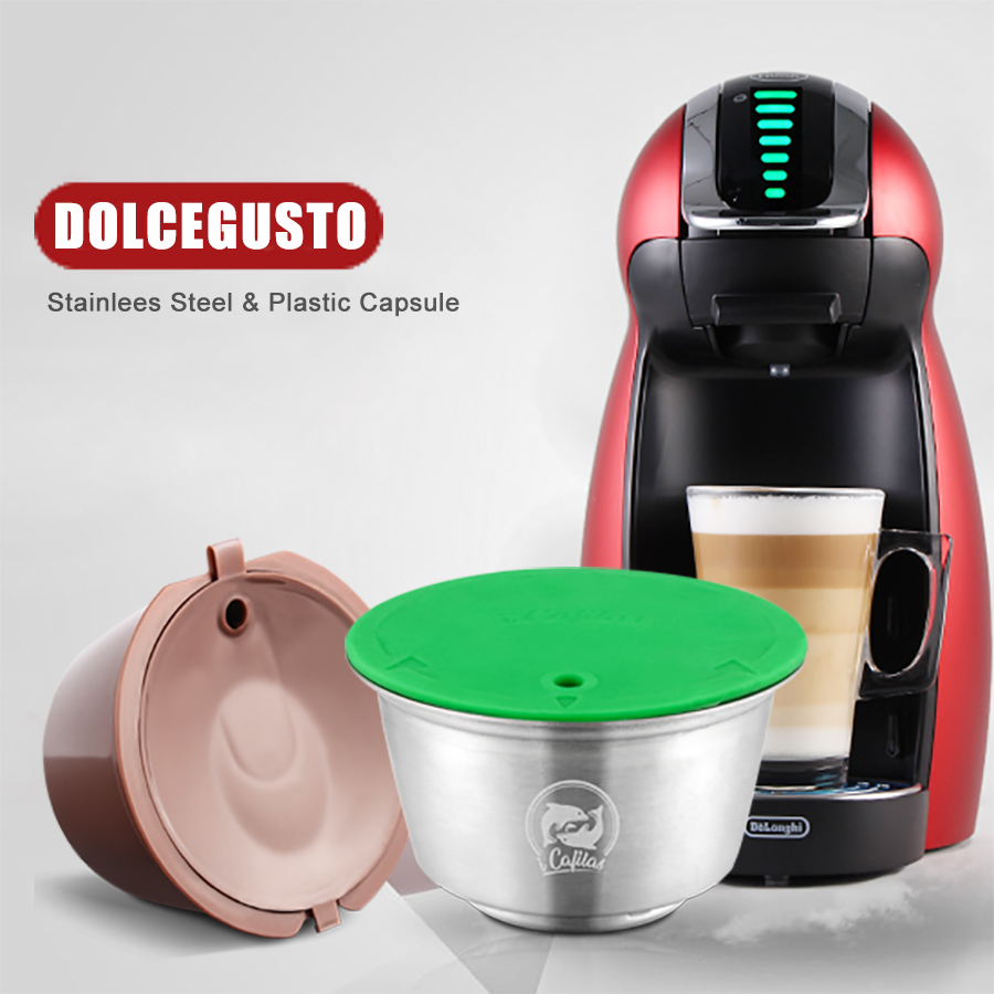 STAINLESS STEEL Metal Reusable Dolce Gusto Capsule & 3rd Plasti ForNescafe Coffee Machine Refillable Dolci Filter Dripper Tamper