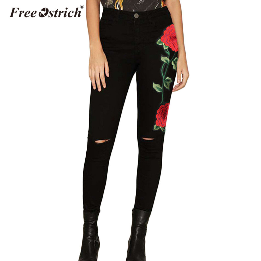 Free Ostrich Embroidery Jeans 2017 New High Waist Black Without Ripped Woman Fashion Floral Denim Pants Trousers For Women Jeans new embroidered flower skinny stretch high waist jeans without ripped woman floral denim pants trousers for women jeans j18 z35