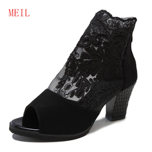 Size 43-35 Summer Mesh Peep Toe Sandals Sexy Heels Single Shoes Women in Europe and America 2019 Spring Gauze