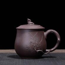 PINNY 420ml Yixing Purple Clay Plum Blossom Tea Mugs Natural Ore Sand Mud Teacups Hand Made Drinkware Mug