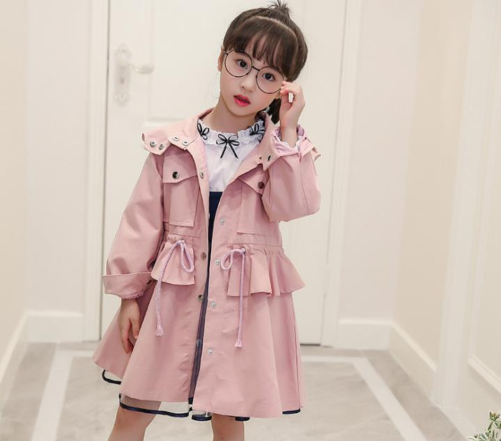 High quality 100% cotton Girls coat long sleeve Solid double-breasted dust coat jacket outerwear autumn Spring wear5--10 year stylish lapel long sleeve double breasted plus size coat for women