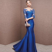 Elegant Royal Blue Mother Of The Bride Dresses Half Sleeves See Through Back Women Evening Dress for Wedding Party Plus Size