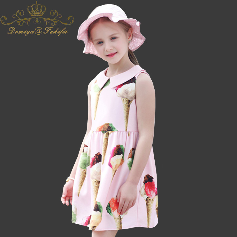 Baby Dress Ice Cream PatternChristmas Clothes Sleeveless Girls Dresses Princess Costume for Kids Beach Dress Children Vestidos