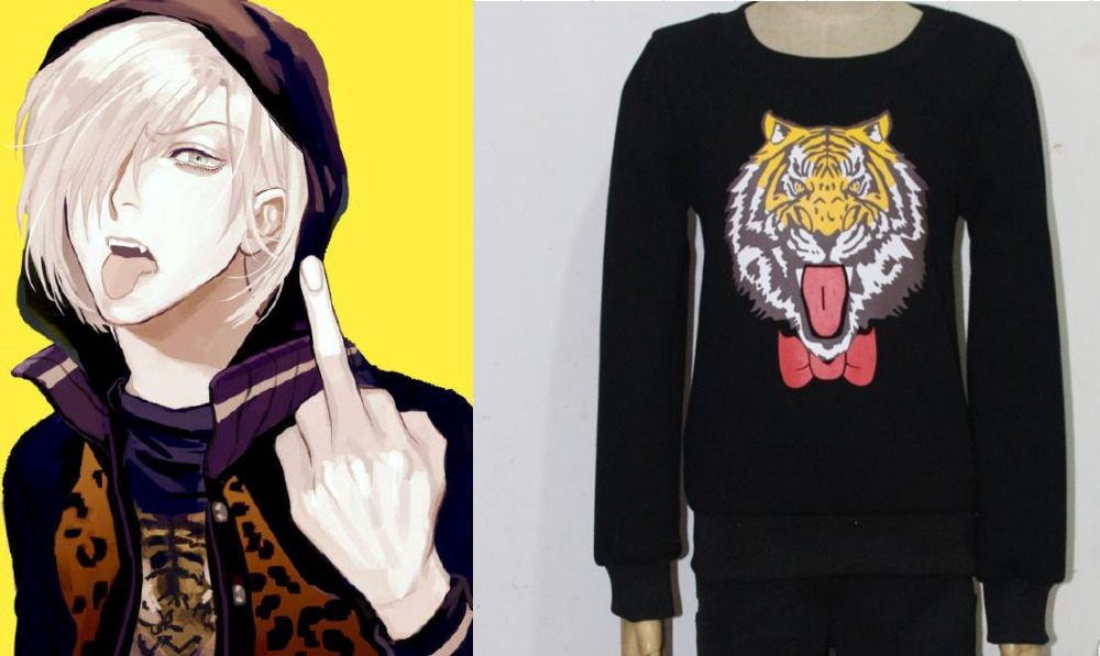 YURI!!!on ICE Yuri Plisetsky Cosplay Costumes Tiger Printed Hoodie Unisex Daily Top