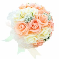 Wedding Decors Foam Rose Bouquet Artificial Flower Bride Bridesmaid Holding Flower With Lace Silk Ribbon Pearl