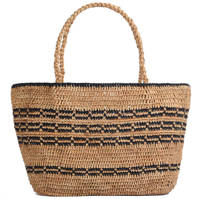 Stylish Summer Beach Bag French Style Straw Bag Women Striped Tote Woven Hollow Out Handbags Elegant Vintage Handbags