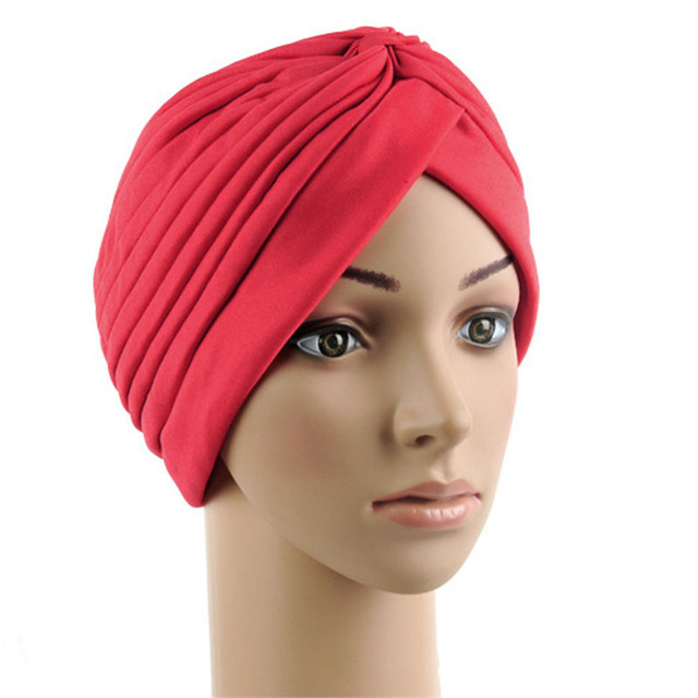 0014ca0e172 2017 Hot Sale Stretchy Turban Head Wrap Band Sleep Hat Chemo Bandana Hijab  Pleated Indian Cap
