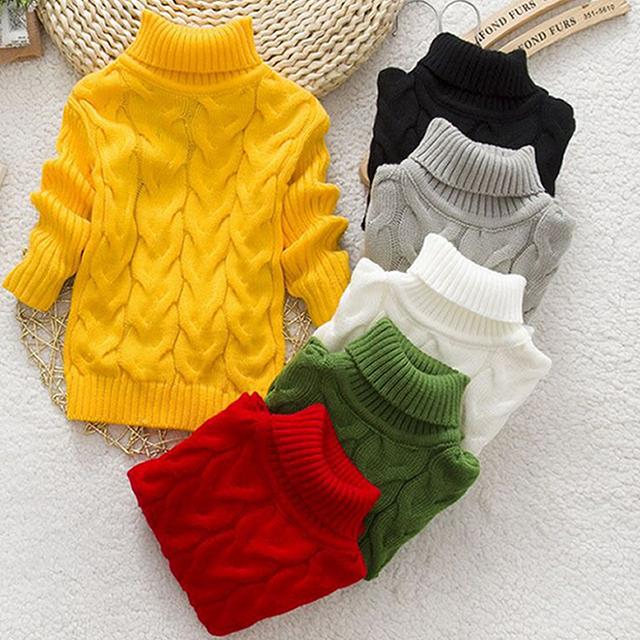 Suéteres bebé 2016 nuevo otoño y el invierno cálido suéter boy girls cuello de algodón suéter de los niños