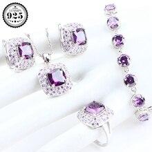 Фиолетовые циркониевые серебряные Ювелирные наборы 925, серьги с камнями для женщин, свадебные ювелирные изделия, браслет, кольцо, ожерелье, кулон, набор, подарочная коробка