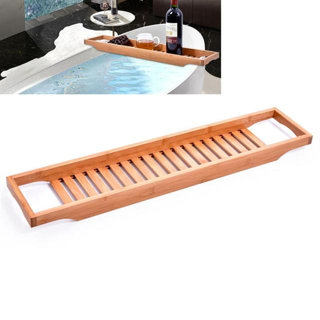 Bamboo Wooden Bathtub Caddy Tray Bathroom Organizer With Rails Ideal