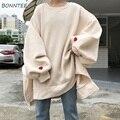 Толстовка Женская  2020  Харадзюку  большой размер  трендовая  с o-образным вырезом  Женский пуловер  студенческий длинный стиль  с длинным рука...