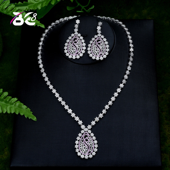 Be 8 High Quality Cubic Zirconia Wedding Necklace and Earrings Luxury Crystal Bridal Jewelry Sets for Bridesmaids S406