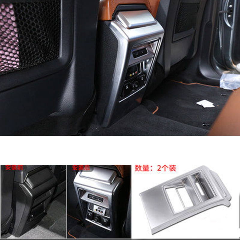 MONTFORD ABS Matte Interior Rear Air Outlet Frame AC Vent Cover Sticker Frame 1Pcs For Land Rover Discovery Sport 2015 2016 2017