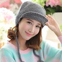 Мода новый симпатичные женщины зима Corchet шляпу 100% ручной вязки шапочка Hat уха халяву