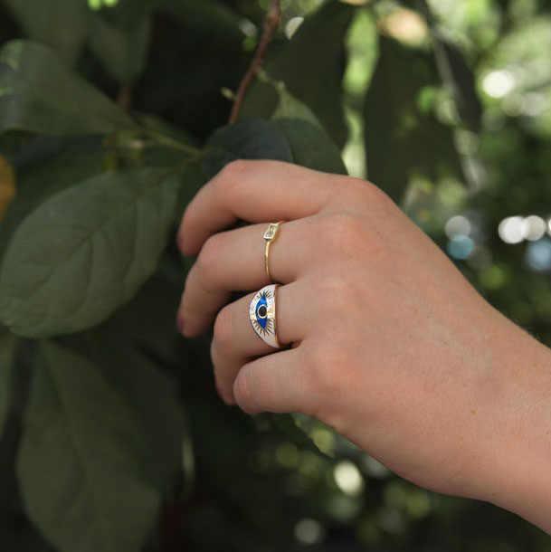 Us ขนาด 5 6 7 8 สีขาวเคลือบสีฟ้าตุรกี evil eye finger แหวนผู้หญิงทองแหวนแฟชั่น