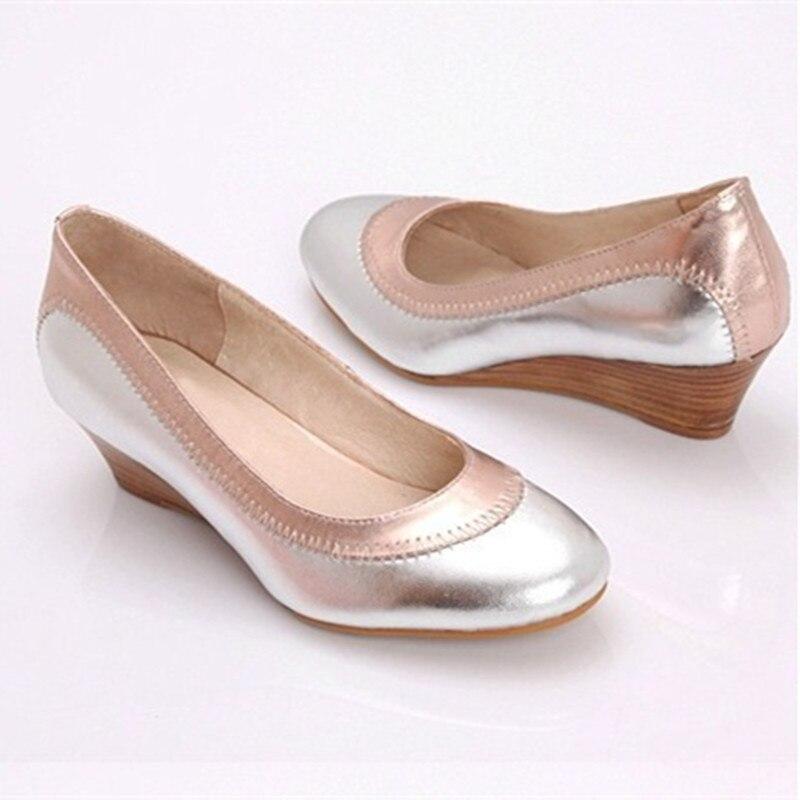 Señoras Grande Tamaño Tacones Genuino 4 Las Mujeres A Bombas Más Cuero Auténtico 15 Personalizado Zapatos Único Cuña Cubierta De rxrwqp4