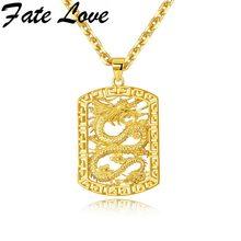 a97b5c783ebb El destino de amor de acero inoxidable de los hombres collar collares  colgantes Plaza dragón chino de joyería de moda para amigo.