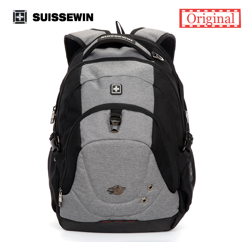 Suissewin Fashion Backpack SN9323 School Laptop Backpack Bag Swiss Travel Backpack Men Women Bagpack White Mochila Female