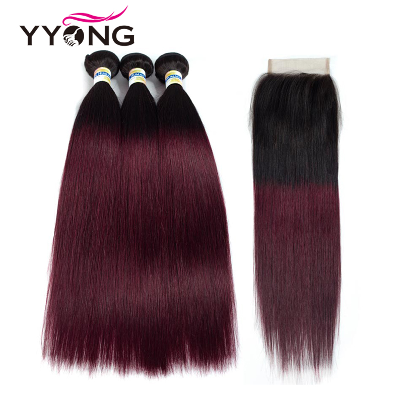Ombre Hair 3 Bundles With Closure Yyong Professional 1B/99J Burgundy Dark Wine Red 100% Human Hair Brazilian Straight Human Hair
