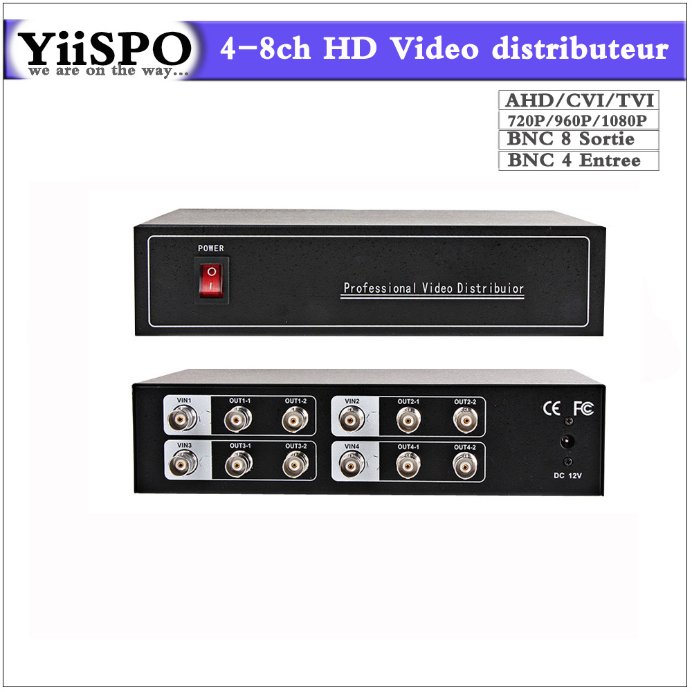 Wholesale 4-8ch AHD Video distributor/Splitter BNC 4 Input 8 Output,Support AHD/CVI/TVI Camera in&out,Distance Maximum To 600M 2 to 4 video splitter hd video distributor bnc 2 input 4 output support hd ahd cvi tvi camera in