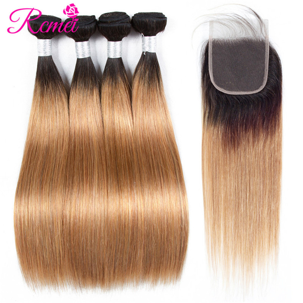 Honey Blonde Bundles With Closure Two Tone Dark Roots Ombre 1B 27 4 Bundle With Closure