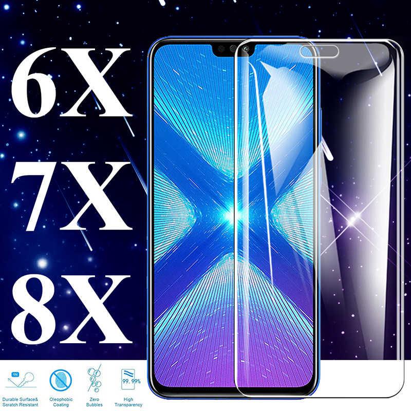 Verre trempé sur le pour Huawei Honor 8x protecteur d'écran 7x6x6 7 8 X X6 X7 X8 protection Huaway Cam feuille protéger armure 2.5d