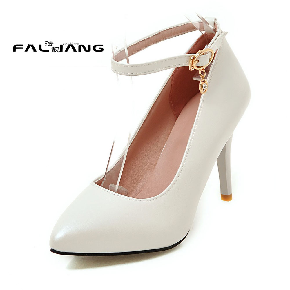 Big Size 11 12 13 14 15 Ankle Strap Pointed Toe Mature women's shoes extreme high heels pumps woman for women