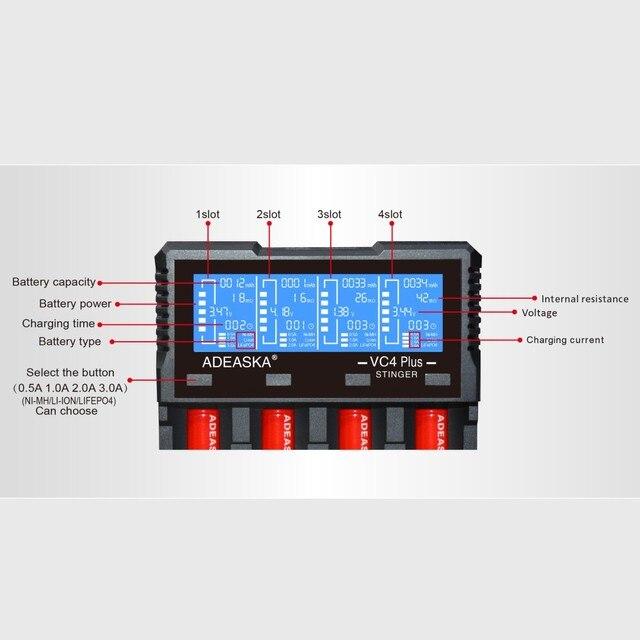 ADEASKA VC4 PLUS C4 VC4 LCD chargeur de batterie intelligent pour Li-ion/IMR/INR/ICR/LiFePO4 18650 14500 26650 AA 3.7 1.2 V 1.5 V Batteries D4